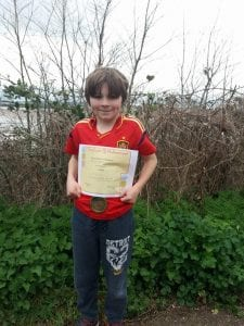 Isaac finish with certificate